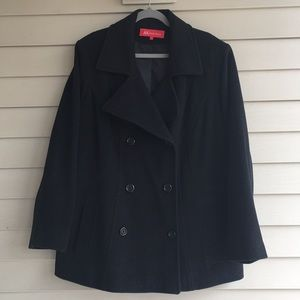 Anne Klein Womens 2X Black Pea Coat Wool Blend